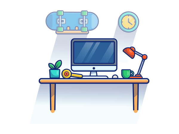 Freelancer working desk Illustration
