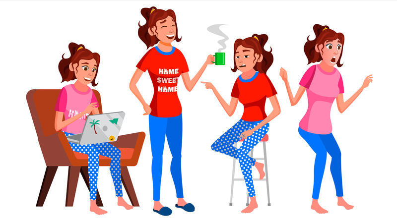 Freelancer Working From Home With Working Gesture Illustration