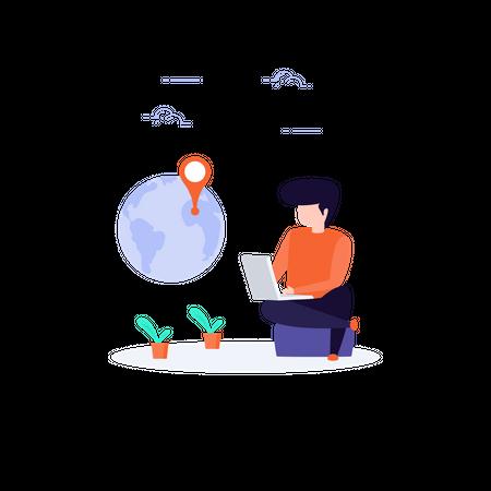 Freelancer working globally Illustration