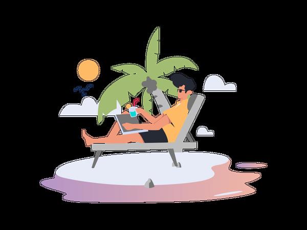 Freelancer working on beach Illustration