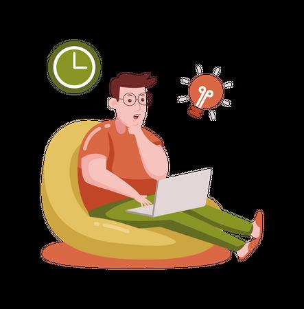 Freelancer working on creative idea Illustration