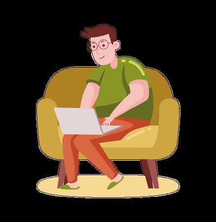 Freelancer working on laptop Illustration