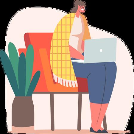 Freelancer Working on Laptop Sitting on Chair Illustration
