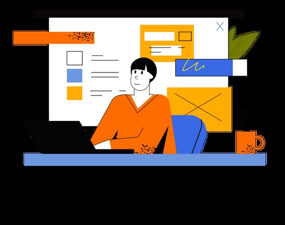 Freelancer Working On Project Illustration