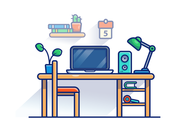 Freelancer workplace Illustration