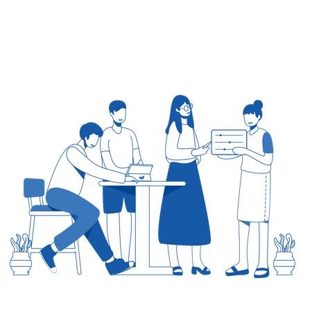 Freelancers analyzing startup idea Illustration