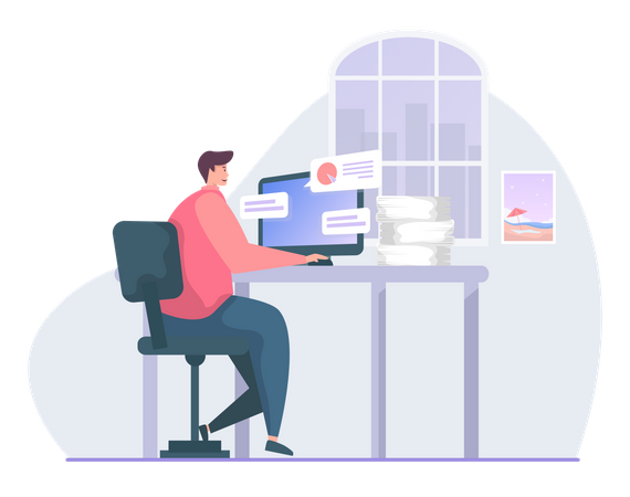 Freelancers working from home Illustration