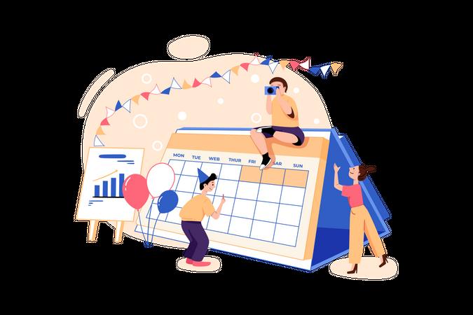 Freelancers working on startup scrum table Illustration