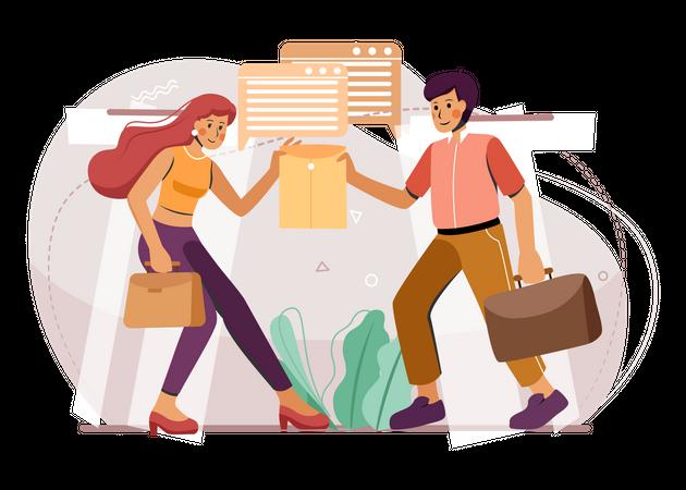 Freelancers working together Illustration