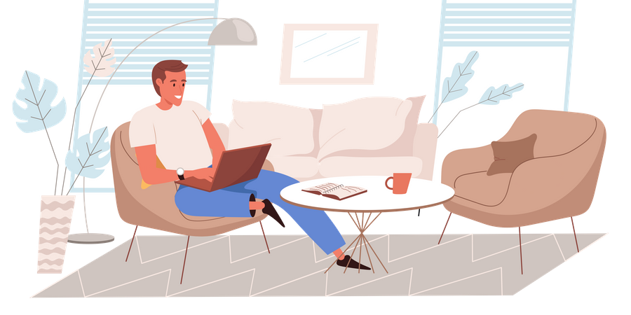 Freelancing Person Working From Home Illustration