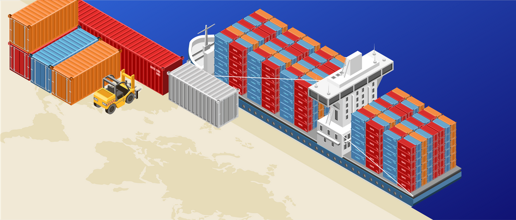Freight ship with containers in cargo port Illustration