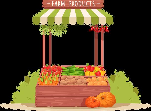 Fresh Farm Vegetables Kiosk Illustration