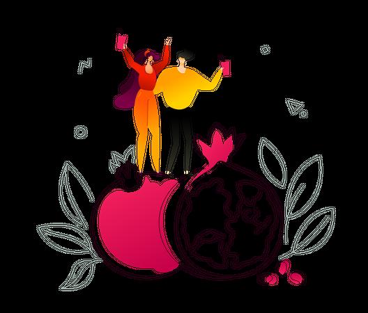 Fresh fruit and juice Illustration