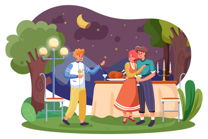 Friend enjoying at Garden Party during Night Illustration