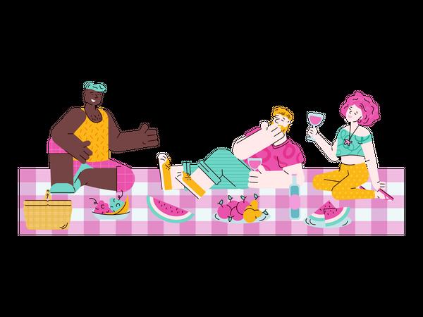 Friend enjoying summer party Illustration