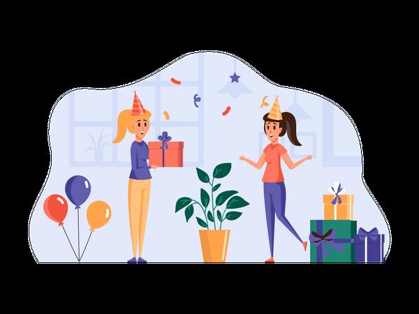 Friend giving birthday gift Illustration