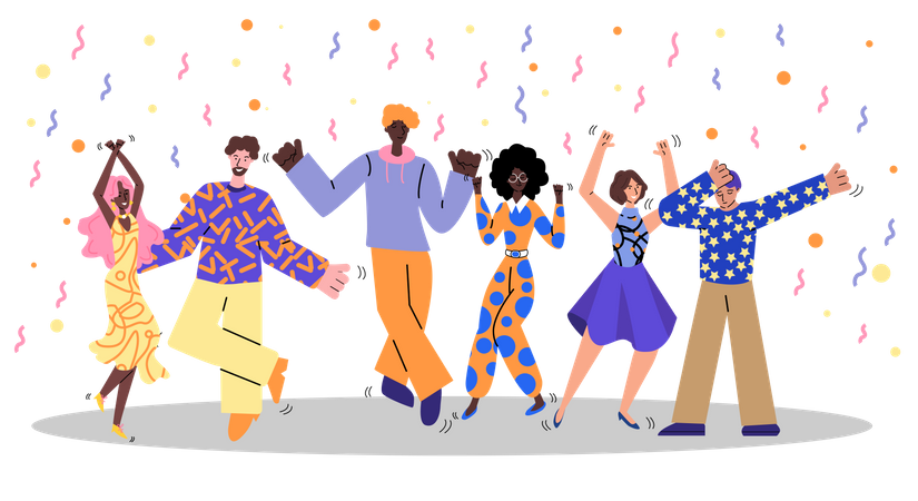 Friend Group At Retro Dance Party Illustration