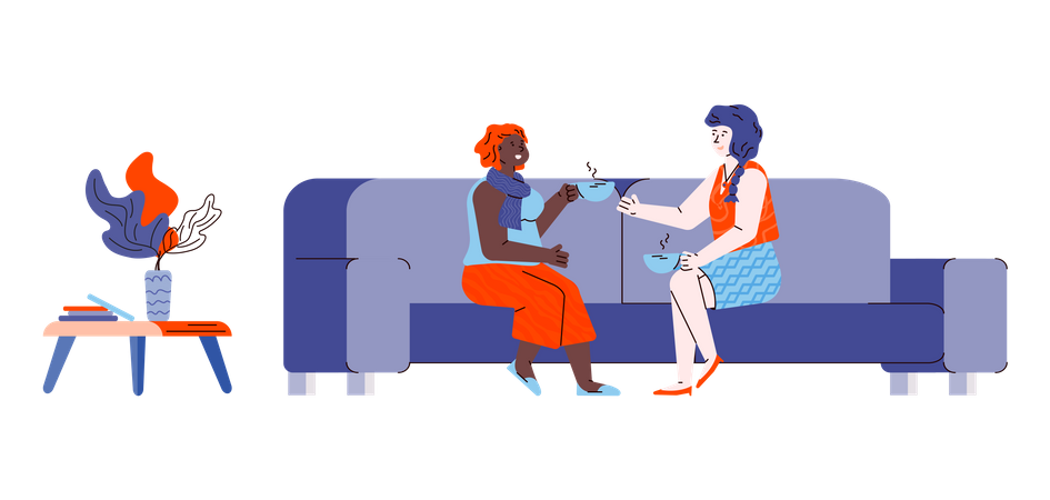Friendly conversation of two girl friends sitting on sofa Illustration