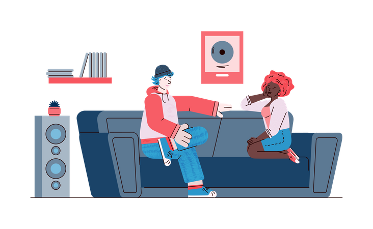 Friendly conversation scene with man and woman sitting on couch and having dialog Illustration