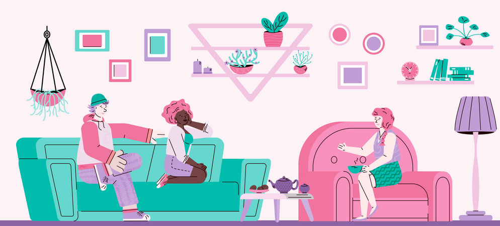 Friendly visit or reception of guests at home Illustration