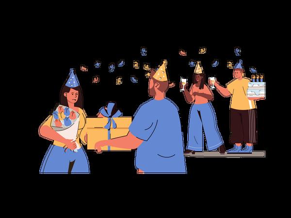 Friends celebrating birthday party Illustration