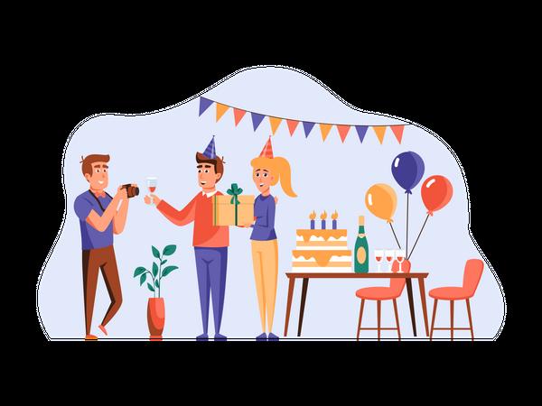 Friends celebrating birthday together Illustration