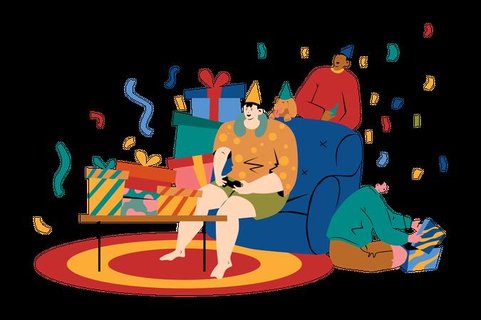 Friends celebrating in birthday party Illustration