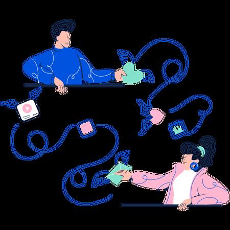 Friends Chatting on Social Media Illustration
