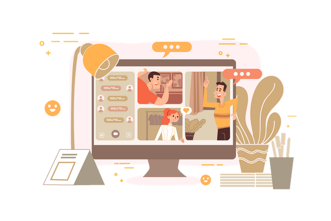 Friends chatting on video call Illustration