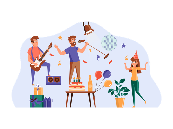 Friends doing birthday party Illustration