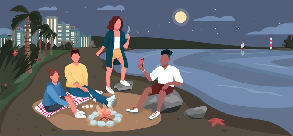 Friends evening picnic at sandy beach Illustration