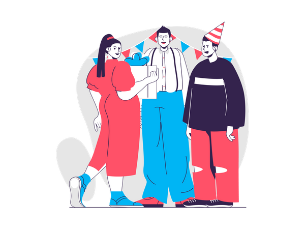Friends giving gifts on birthday Illustration