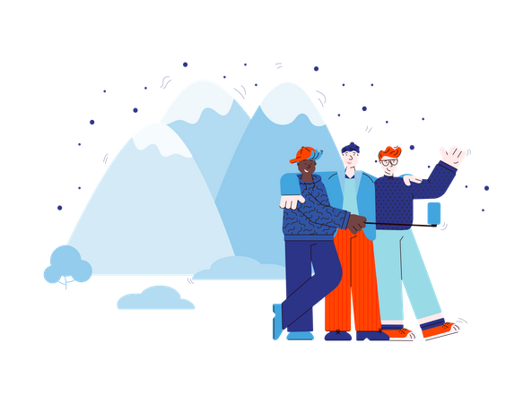 Friends group, travelers or hikers make a selfie together with mobile device in mountain landscape Illustration