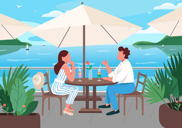Friends having breakfast in seaside resort cafe Illustration