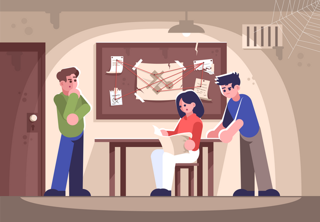 Friends in criminal quest room Illustration