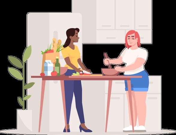 Friends making dish together Illustration