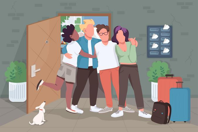 Friends meeting Illustration