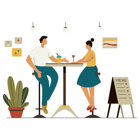 Friends meeting in cafe Illustration