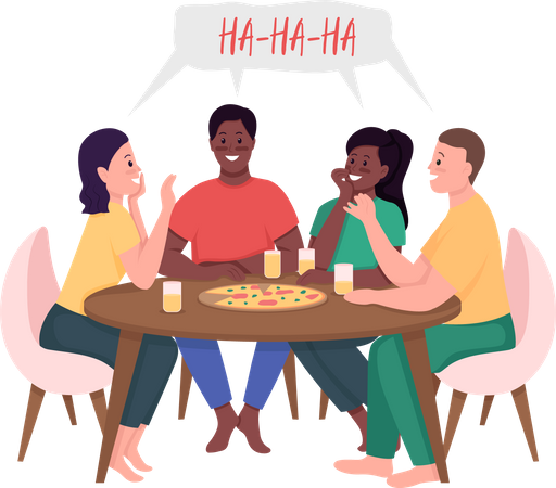 Friends meeting over pizza Illustration