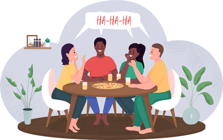 Friends meeting over pizza party Illustration