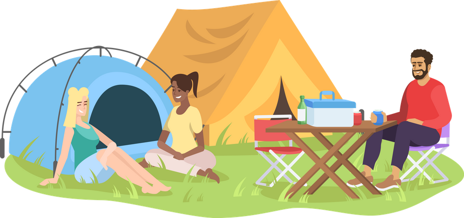 Friends on camping Illustration