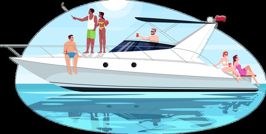 Friends on voyage Illustration
