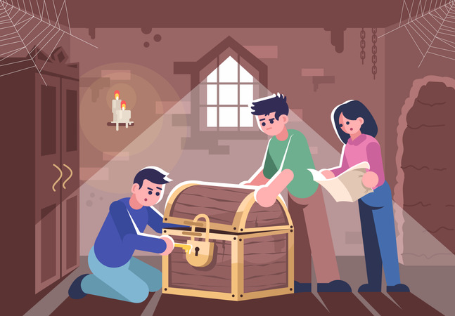 Friends opening closed chest Illustration
