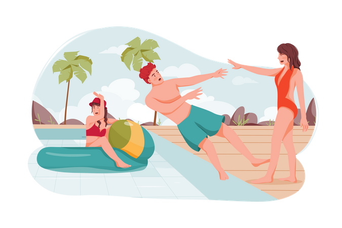 Friends Playing at beach Illustration