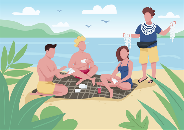 Friends playing cards on beach Illustration