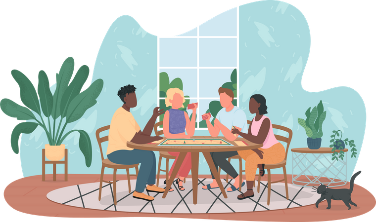 Friends playing table games Illustration