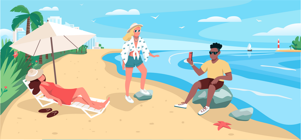 Friends relaxing at sandy beach Illustration