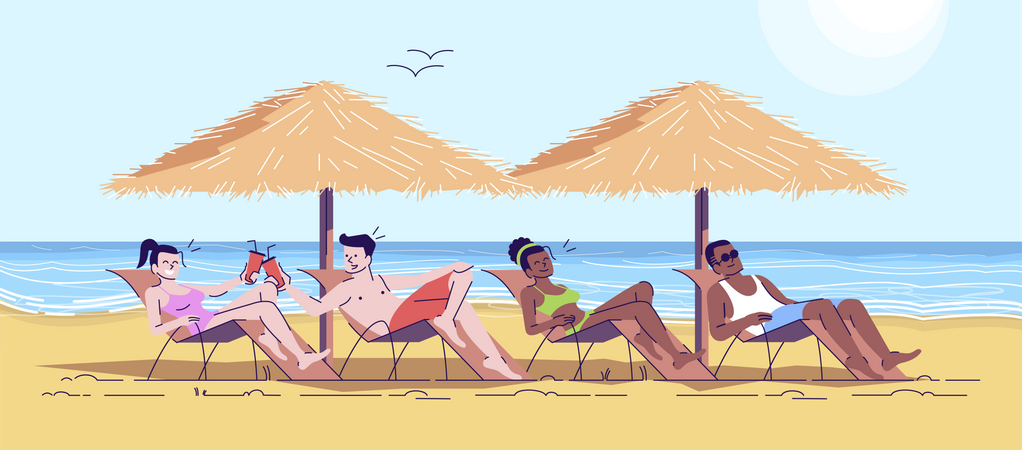 Friends relaxing on beach Illustration