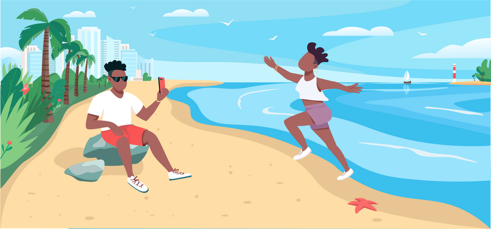 Friends taking photo at sandy beach Illustration