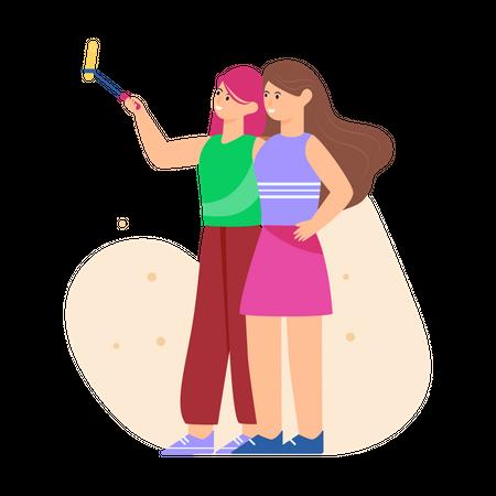 Friends taking Selfie Illustration